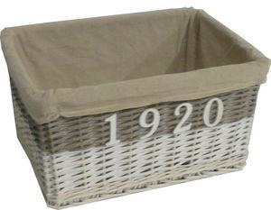 Aubry-Gaspard - corbeille en osier teinté1920 avec doublure en tis - Panier De Rangement