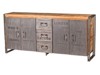 WHITE LABEL - buffet en bois 4 portes 3 tiroirs - industry - l 2 - Buffet Bas