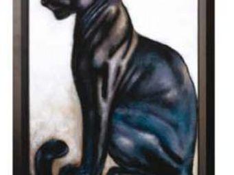 Les Comptoirs Du Sud - toile peinte panthere noire sur chassis - Huile Sur Toile Et Huile Sur Panneau