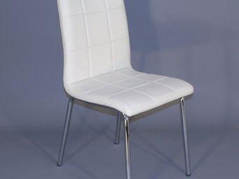 CLEAR SEAT - chaises simili cuir matelassées batz blanches lot  - Chaise