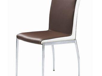 CLEAR SEAT - chaise marron et blanc simili cuir karmel lot de 4 - Chaise