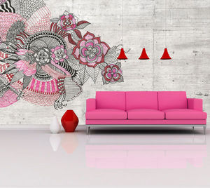 IN CREATION - esquisse rose - Papier Peint Panoramique