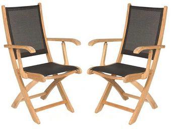 Medicis - fauteuils pliants en teck et textilène noir (par 2 - Fauteuil De Jardin