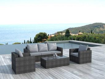 Delorm design - salon 5 places en résine grise et coussins gris cl - Salon De Jardin