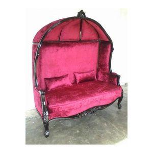 DECO PRIVE - fauteuil carrosse de mariage en velours rouge et a - Canapé 2 Places