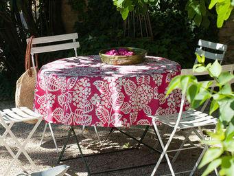 FLEUR DE SOLEIL - nappe enduite hortensia fuchsia 160x160 - Nappe Carrée