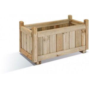 JARDIPOLYS - bac à fleur rectangulaire en bois 53 litres jardip - Bac À Fleurs