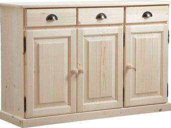 BARCLER - buffet 3 portes 3 tiroirs en bois brut 125x40x83cm - Buffet Haut