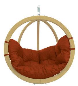 Amazonas - chaise globo à suspendre avec coussin terracota - Balancelle