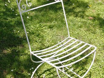 BARCLER - chaise daniela en fer forgé blanc vieilli - Chaise De Jardin