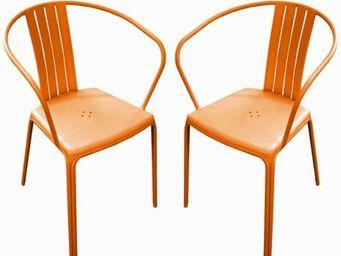 PROLOISIRS - fauteuil empilable azuro en aluminium orange (par  - Chaise De Jardin