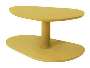 MARCEL BY - table basse rounded en chêne jaune citron 72x46x35 - Table Basse Forme Originale