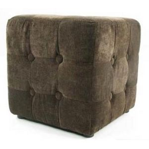 International Design - pouf velours carré - couleur - marron - Pouf