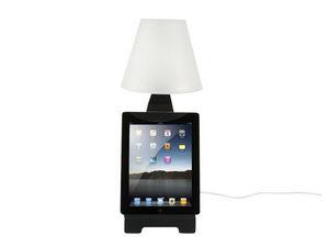 LEITMOTIV - lampe à poser en métal noir pour tablette tactile - Lampe À Poser