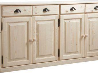 BARCLER - buffet 4 portes 4 tiroirs en bois brut 165x40x83cm - Buffet Haut