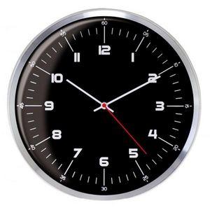 INVOTIS - horloge oeil de boeuf noir - Pendule Murale
