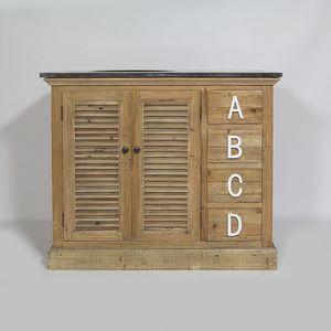 MADE IN MEUBLES - meuble salle de bain authentiq alphabet 2 portes e - Meuble Vasque