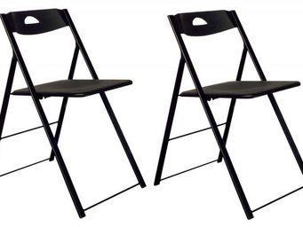 Domitalia - lot de 2 chaises pliantes icon noire. - Chaise Pliante