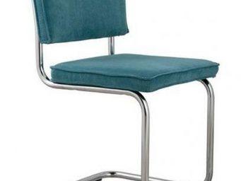 ZUIVER - chaise zuiver ridge rib velours bleu avec cadre ch - Chaise