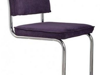 ZUIVER - chaise zuiver ridge rib velours violet avec cadre - Chaise