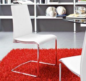 Calligaris - chaise swing en cuir économique blanc et acier chr - Chaise