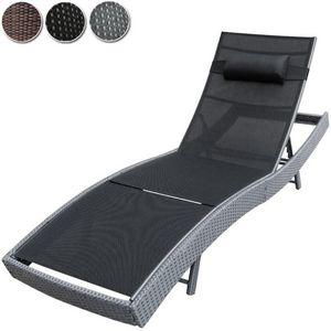 WHITE LABEL - bain de soleil chaise longue transat gris - Bain De Soleil