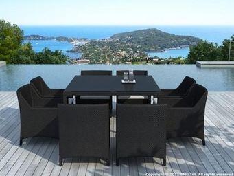 Delorm design - ensemble repas 8 places table et fauteuils en rési - Salle À Manger De Jardin