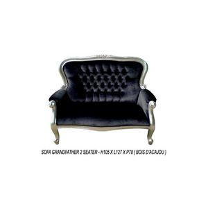 DECO PRIVE - banquette baroque noir et argent - Canap� 2 Places