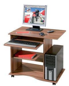 WHITE LABEL - bureau informatique à roulette en bois coloris noy - Bureau