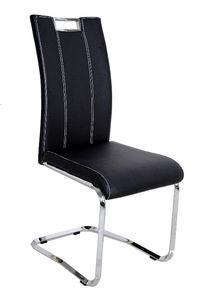 COMFORIUM - chaise en simili cuir moderne coloris noir - Chaise