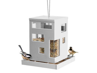 Umbra - mangeoire à oiseaux à suspendre design blanche 20x - Mangeoire À Oiseaux