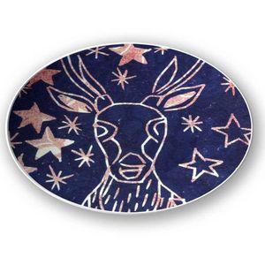 la Magie dans l'Image - assiette cerf etoilé bleu - Assiette De Présentation