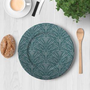 la Magie dans l'Image - assiette plumes de paon grises - Assiette De Présentation