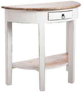 Aubry-Gaspard - console demi-lune en bois blanc antique - Console