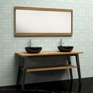 BOIS DESSUS BOIS DESSOUS - ensemble de salle de bain en bois de teck - meuble - Miroir De Salle De Bains