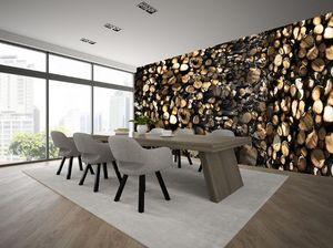 IN CREATION - tas de bois - Papier Peint Panoramique