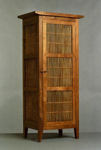 Matahati - armoire etroite teck et bambou - Armoire À Portes Battantes