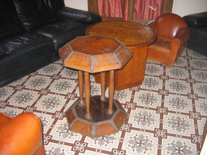 Fauteuil Club.com - table cuir club - Table Basse Forme Originale