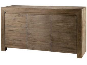 ZAGO - meuble bas 3 portes en teck teinte - Buffet Haut