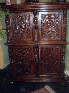 Grand Papa Antiquites - cabinet 4 portes - Buffet Deux Corps