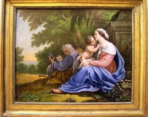 Fabian de MONTJOYE - la sainte famille - Huile Sur Toile Et Huile Sur Panneau