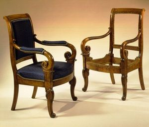 CARSWELL RUSH BERLIN - very rare and important pair of restauration tiger - Chaise
