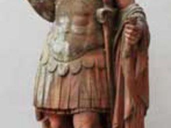 GALERIE MARC MAISON - cast stone statue of soldier with terra cotta pati - Statuette