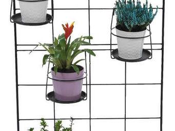 Jany - treillage en m�tal noir avec double jardini�re - Porte Pots De Jardin