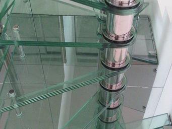 TRESCALINI - quadro : escalier colima�on inox et verre - Escalier H�lico�dal