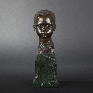 Expertissim - a. matton. t�te de jeune africain en bronze - Buste