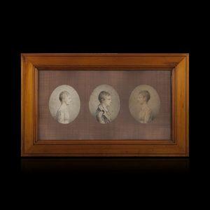Expertissim - ecole francaise du xixe siècle. trois portraits - Portrait Miniature