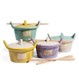 MAISONS DU MONDE - assortiment de 4 marmites et cuillères basilic - Cocotte