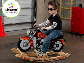 KidKraft - moto � bascule en bois harley-davidson 90x39x61cm - Trotteur