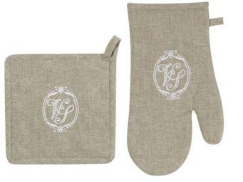 Antic Line Creations - gant et manique matelassés venus lin en coton - Gant De Four
